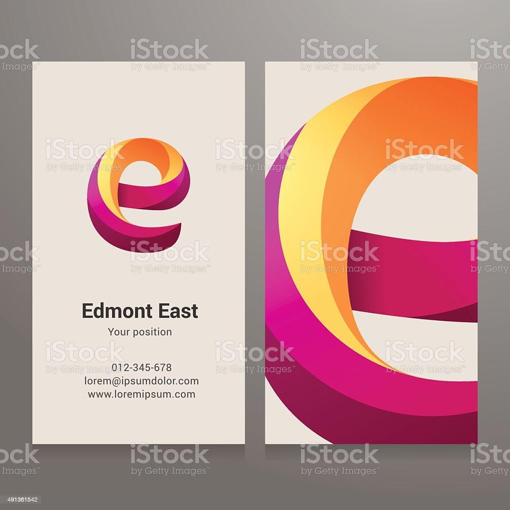 Modern letter E twisted Business card template vector art illustration