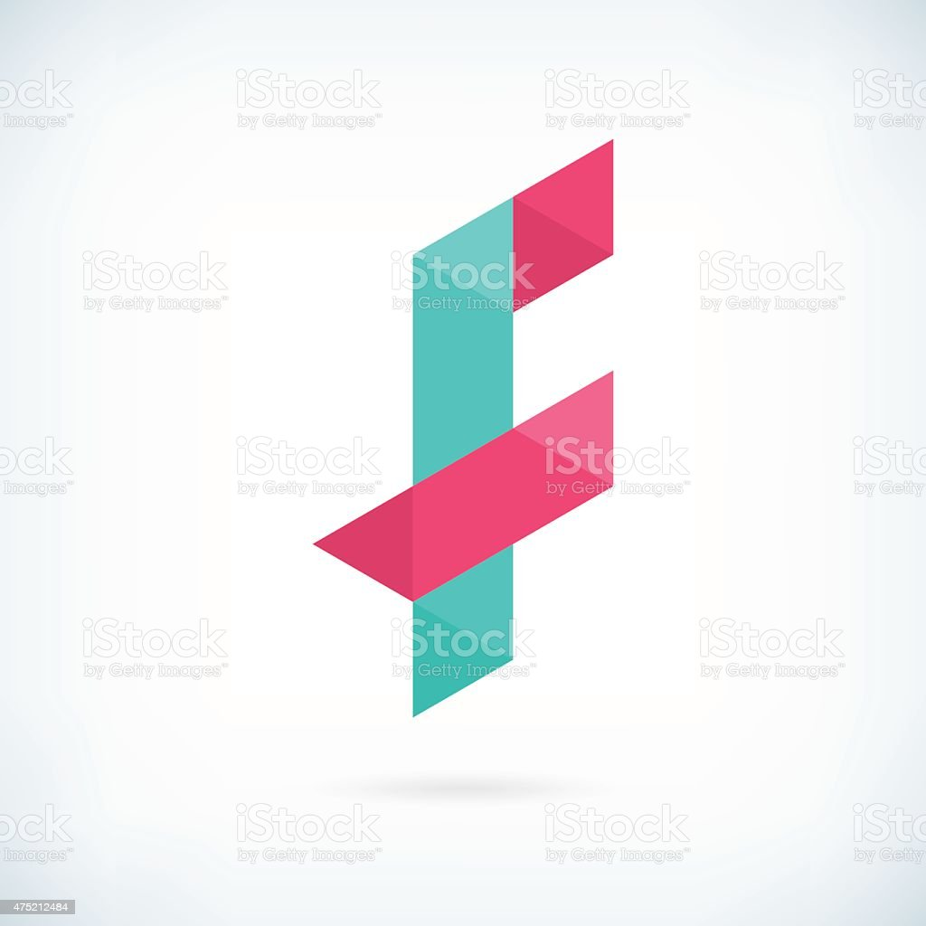 Modern letter F icon flat design element template vector art illustration