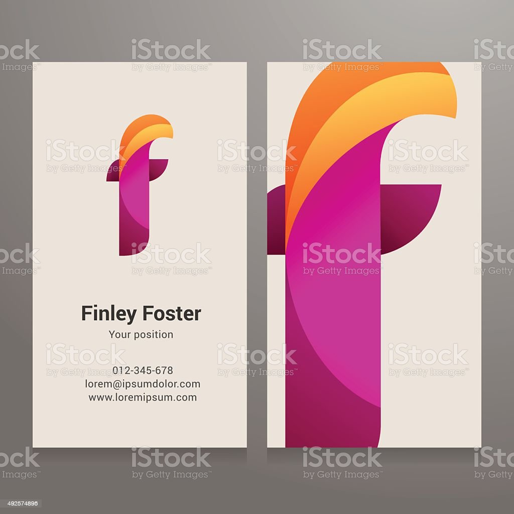 Modern letter f twisted Business card template vector art illustration