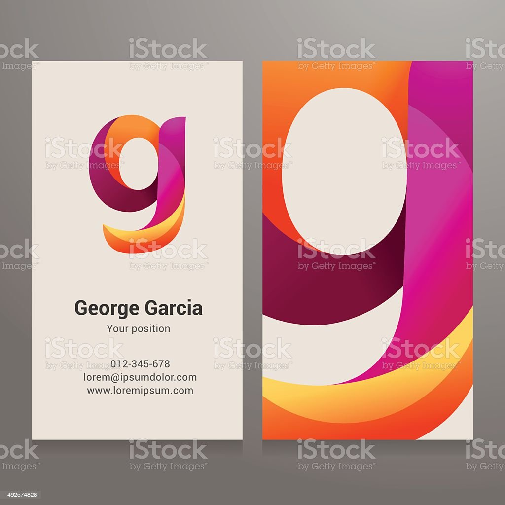 Modern letter g twisted Business card template vector art illustration