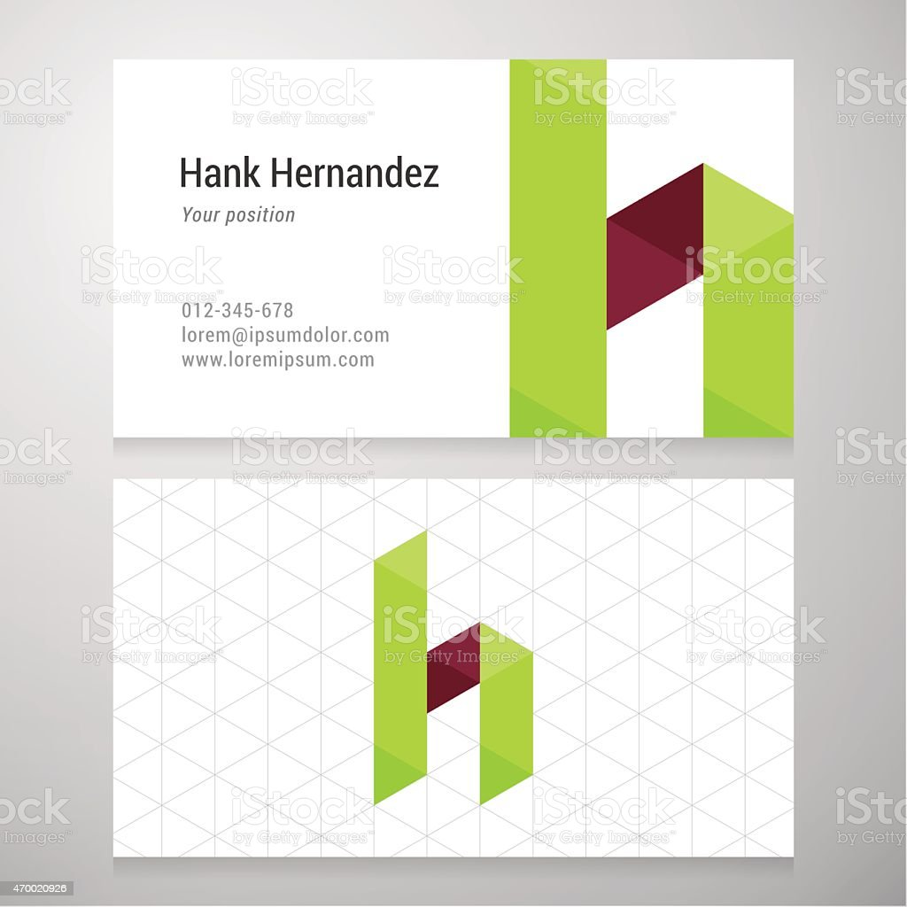 Modern letter H origami Business card template vector art illustration