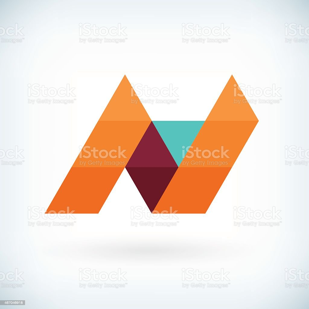 Modern letter N icon flat design element template vector art illustration