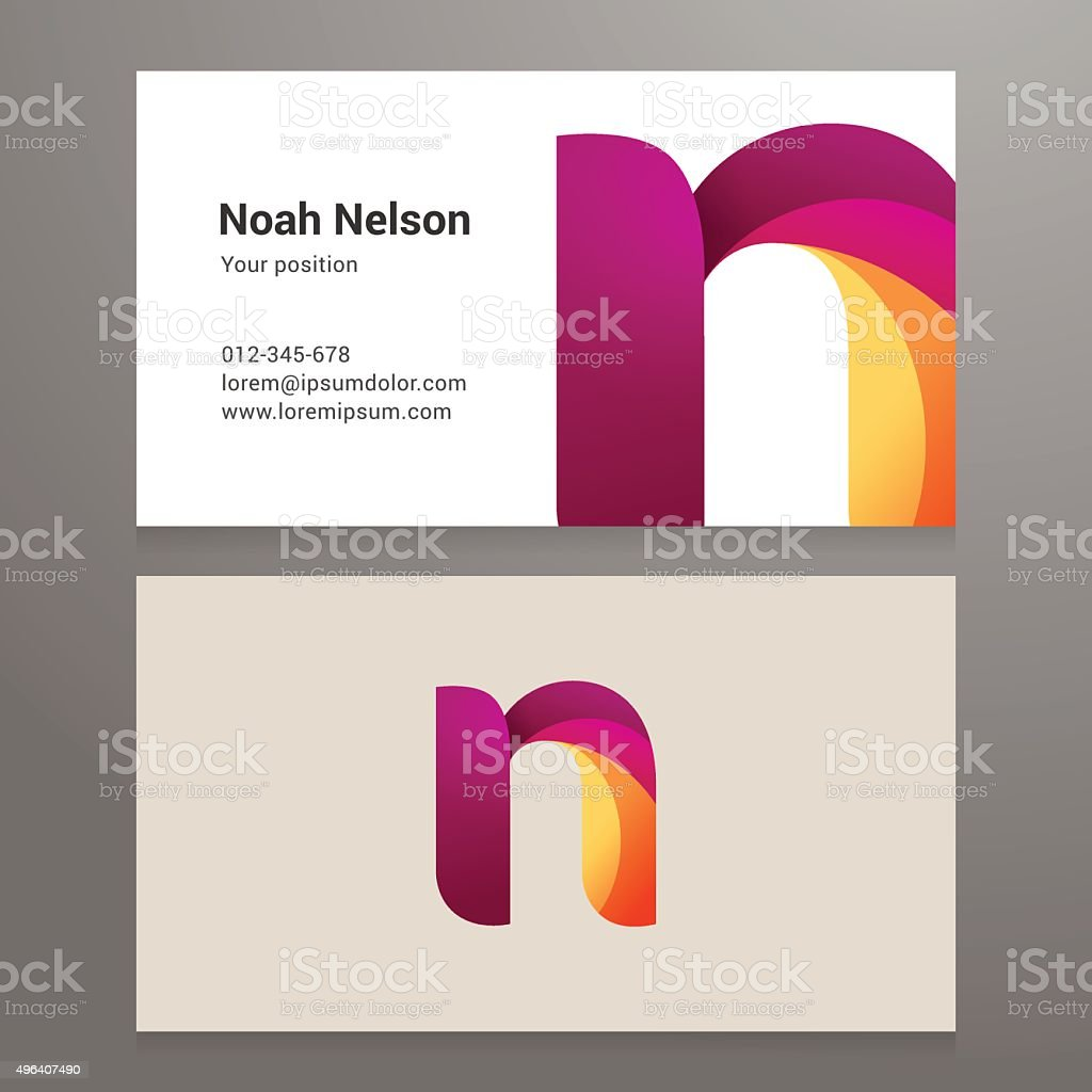 Modern letter N twisted Business card template vector art illustration
