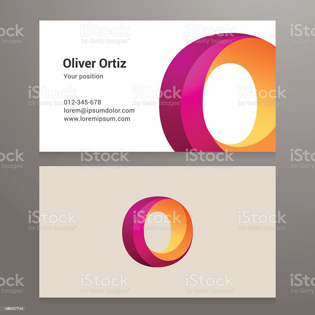 Modern letter O twisted Business card template vector art illustration