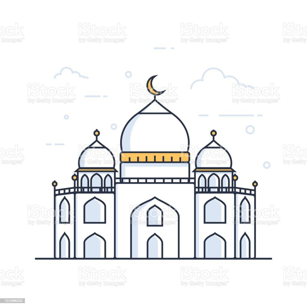 Modern line art Islamic Mosque building. White background, Modern Mosque vector art illustration