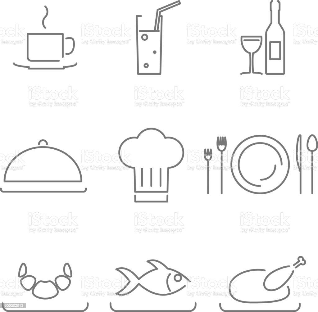 Moderne linie chef essen im restaurant küche icons und symbole set lizenzfreies vektor