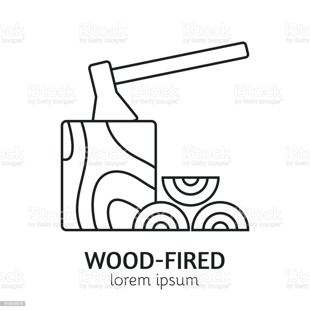 Modern Line Style Woodfired Logotype Template Stock Vector Art