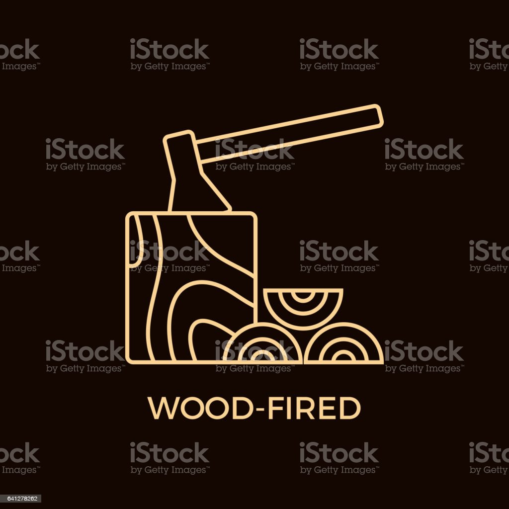 Modern Line Style Wood-Fired Logotype Template. vector art illustration