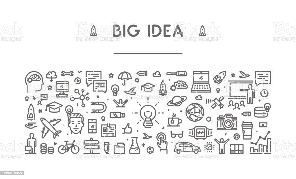 Modern line web banner for big idea vector art illustration