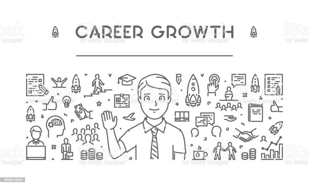 Modern line web banner for career growth vector art illustration