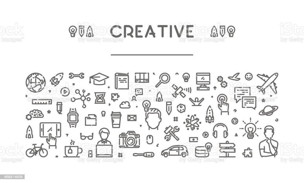 Modern line web banner for creative and inspiration vector art illustration