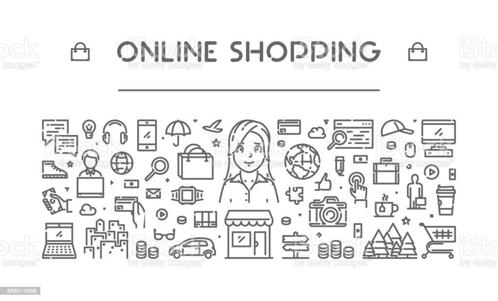Modern line web banner for online shopping vector art illustration