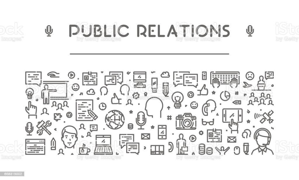 Modern line web banner for public relations vector art illustration