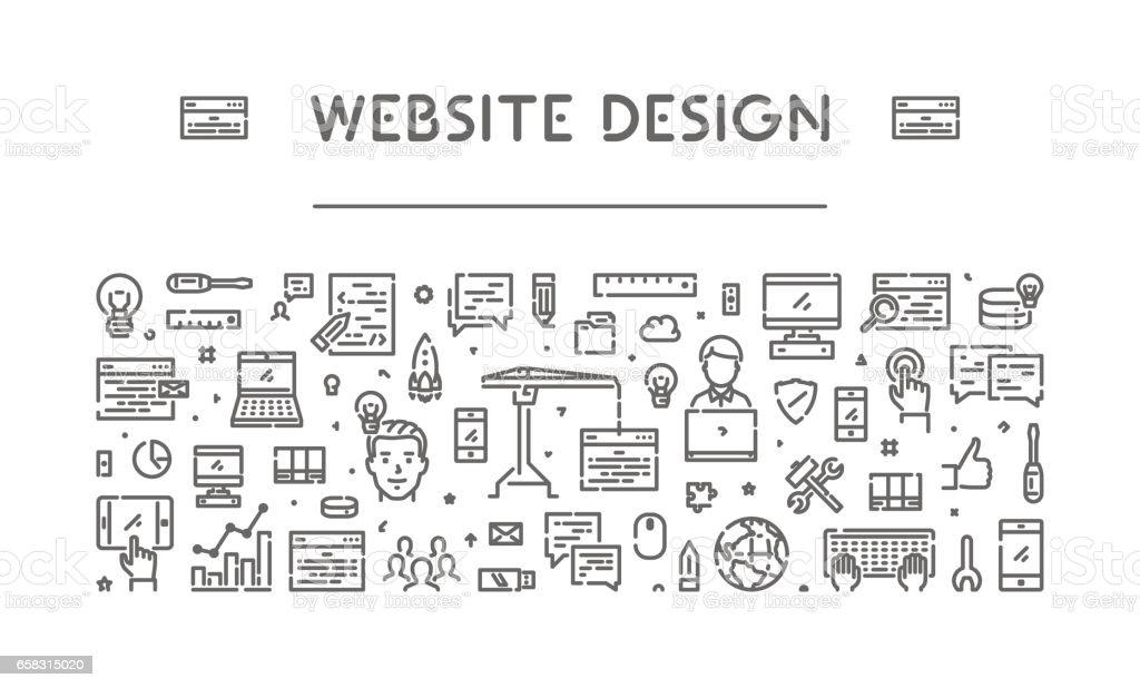 Modern line web banner for web design vector art illustration