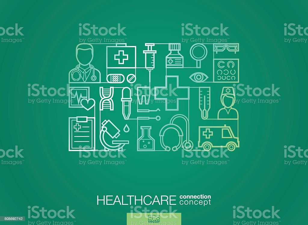 Modern linear style vector concept. Healthcare and medicine vector art illustration