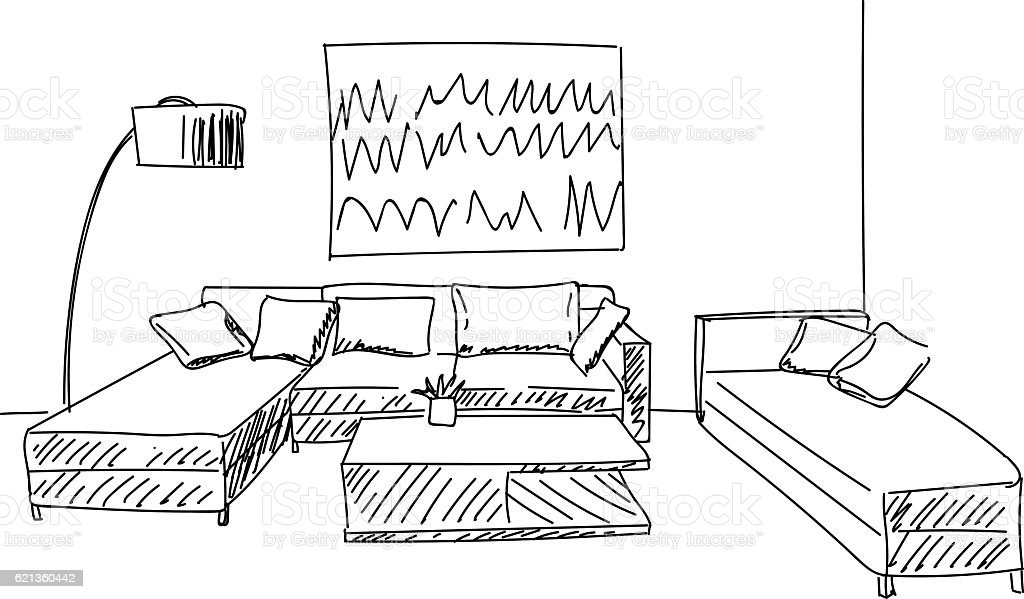 Living Room Drawing modern living room interior sketch with small table and sofa stock