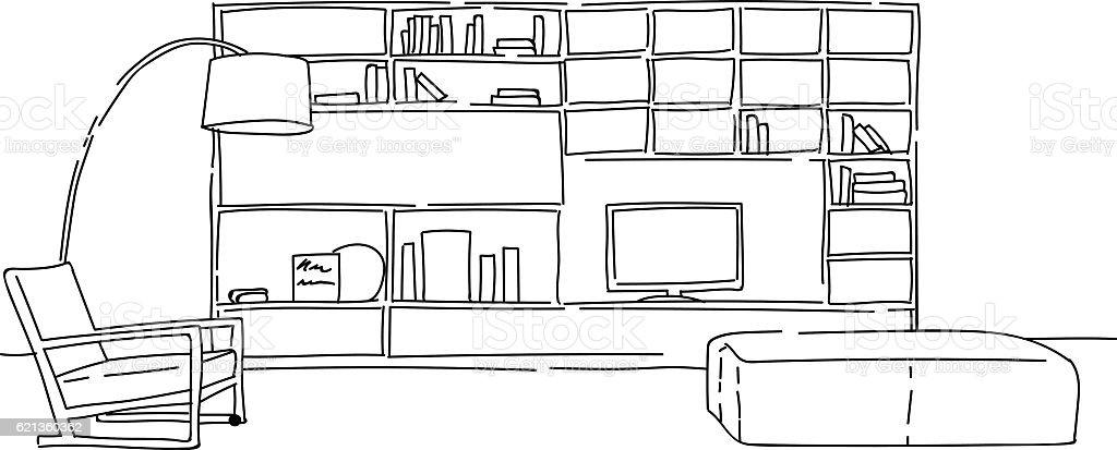 Modern Living Room Interior Vector Sketch Royalty Free Stock Art