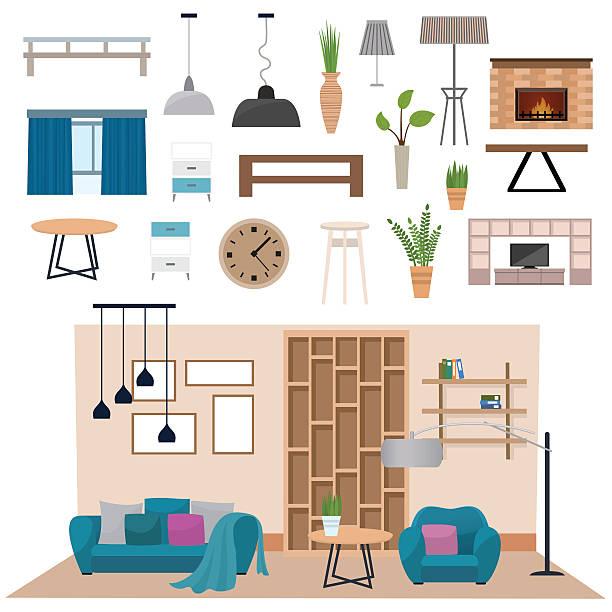 Flat Vector Illustration Art Modern Living Room Interior With Wood Floor Apartment Furniture