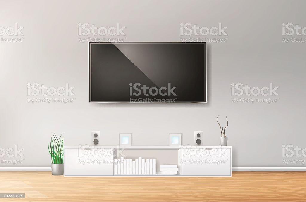 Modern living-room with TV vector art illustration