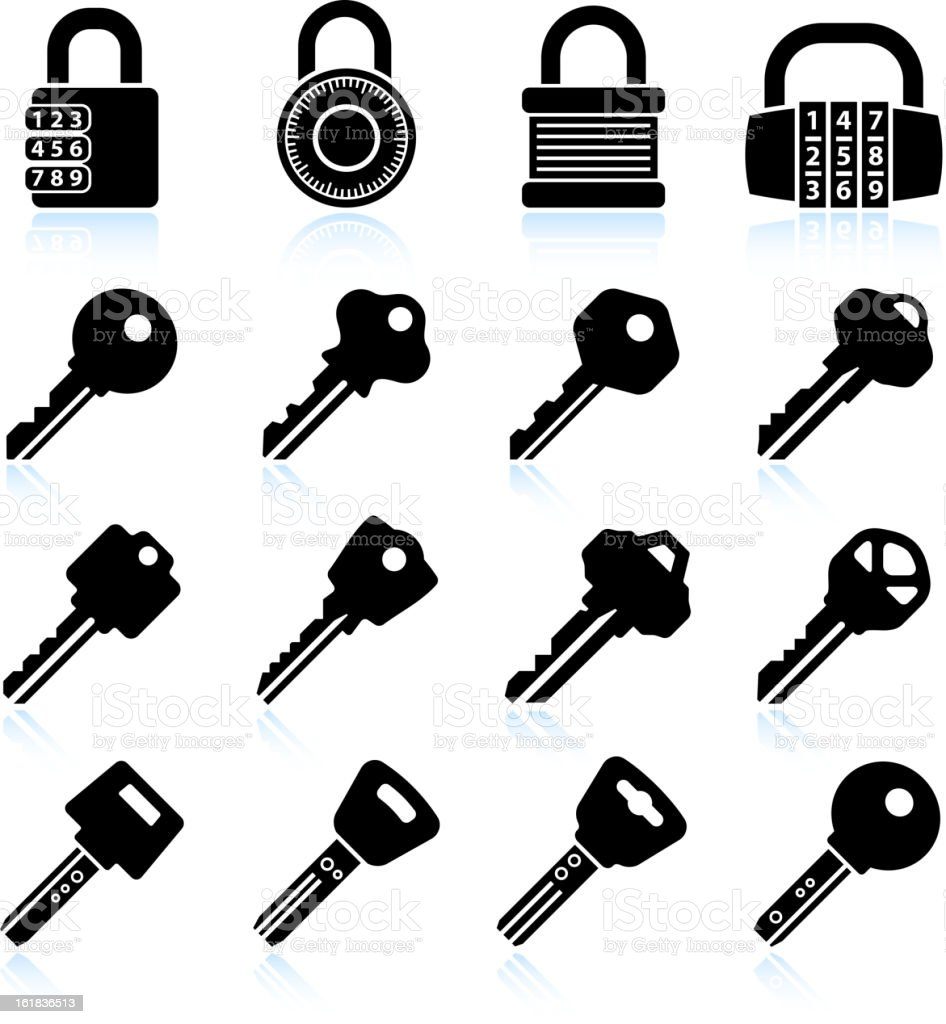 Modern Lock and Keys black & white vector icon set vector art illustration