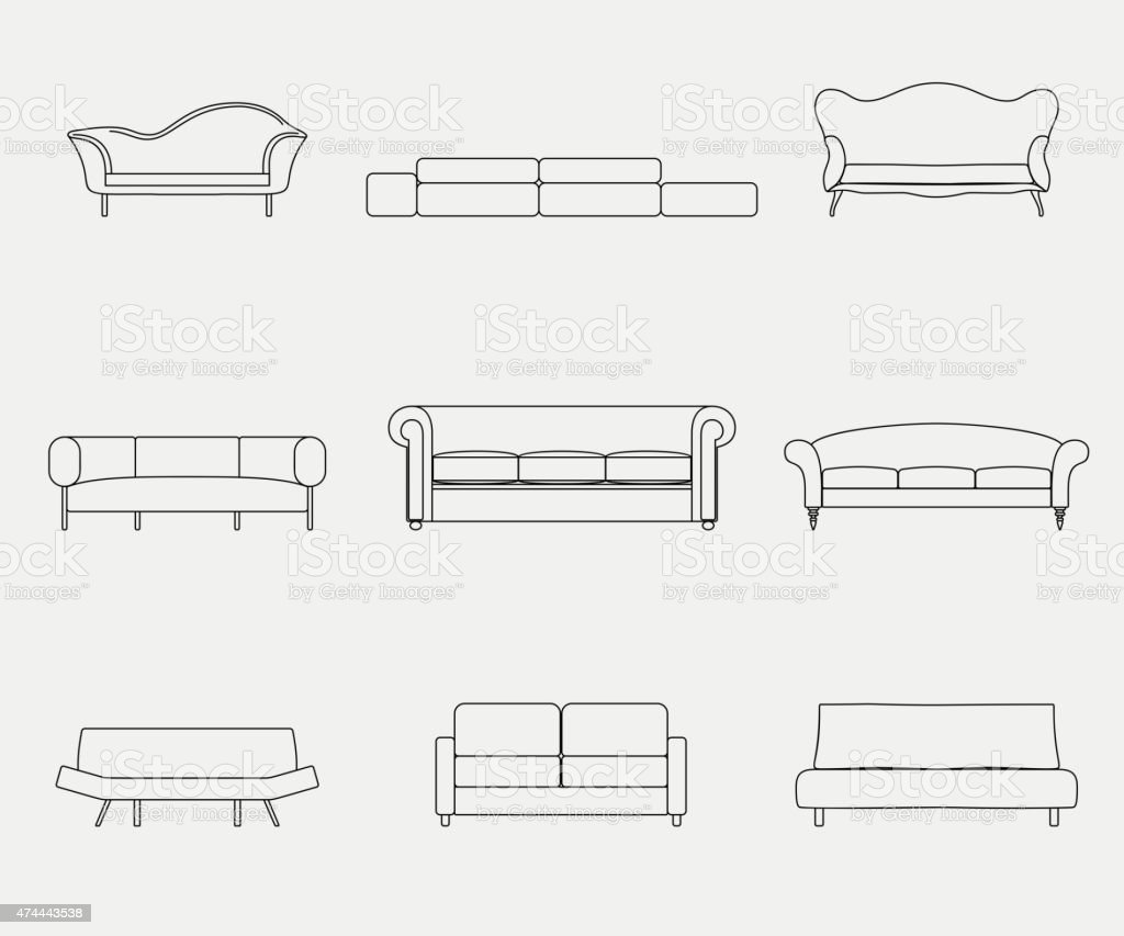 Modern luxury sofas and couches furniture icons set for living vector art illustration