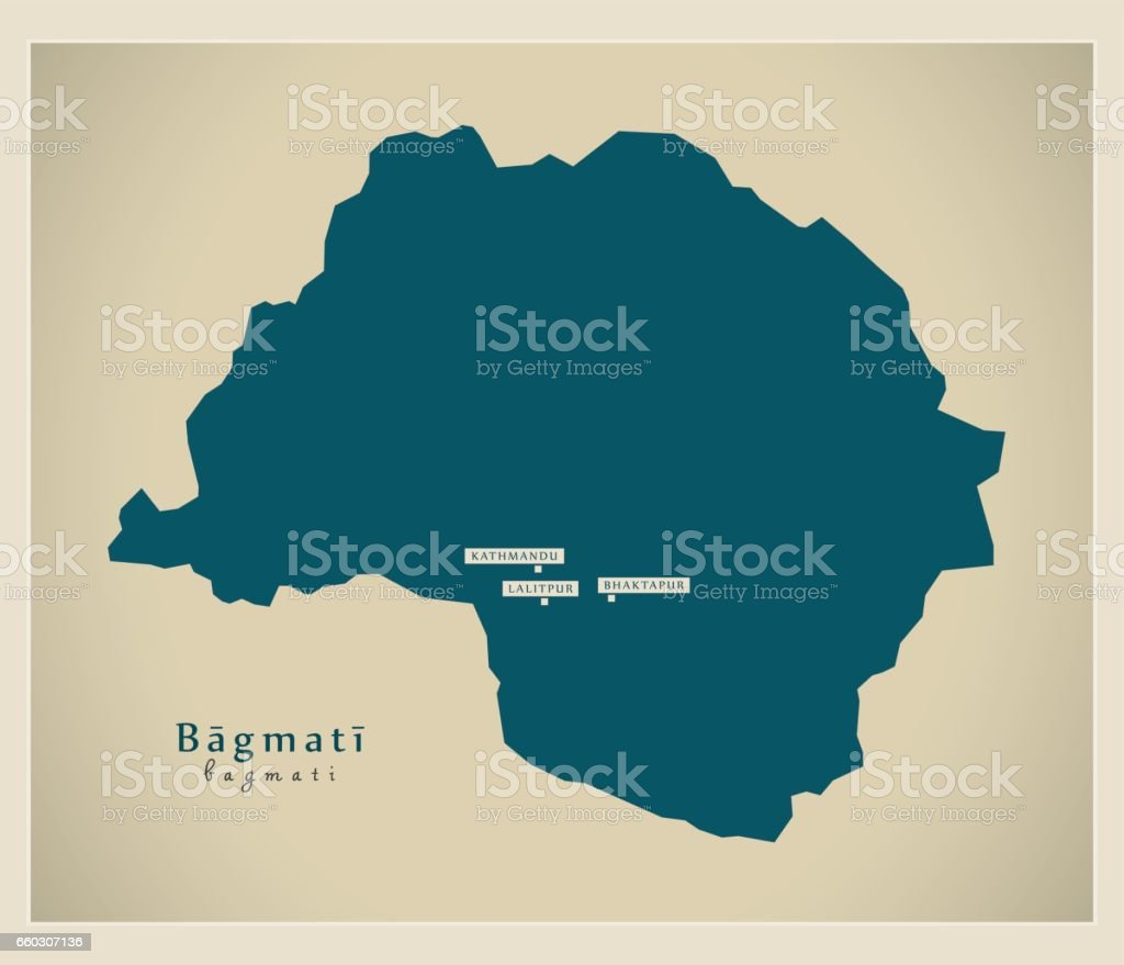 Modern Map - Bagmati NP vector art illustration