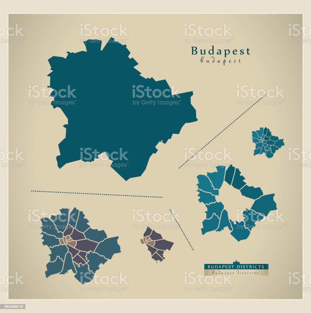 Modern Map - Budapest HU vector art illustration