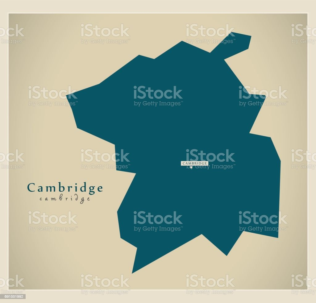 Modern Map - Cambridge City district UK vector art illustration