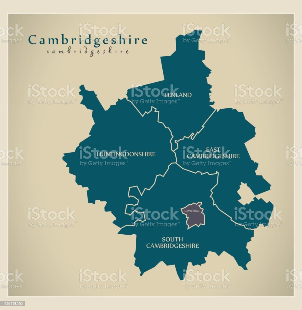 Modern Map - Cambridgeshire county detailed UK vector art illustration