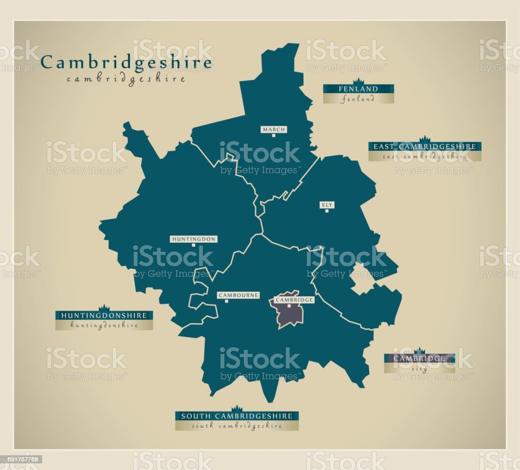 Modern Map - Cambridgeshire county with labels UK vector art illustration