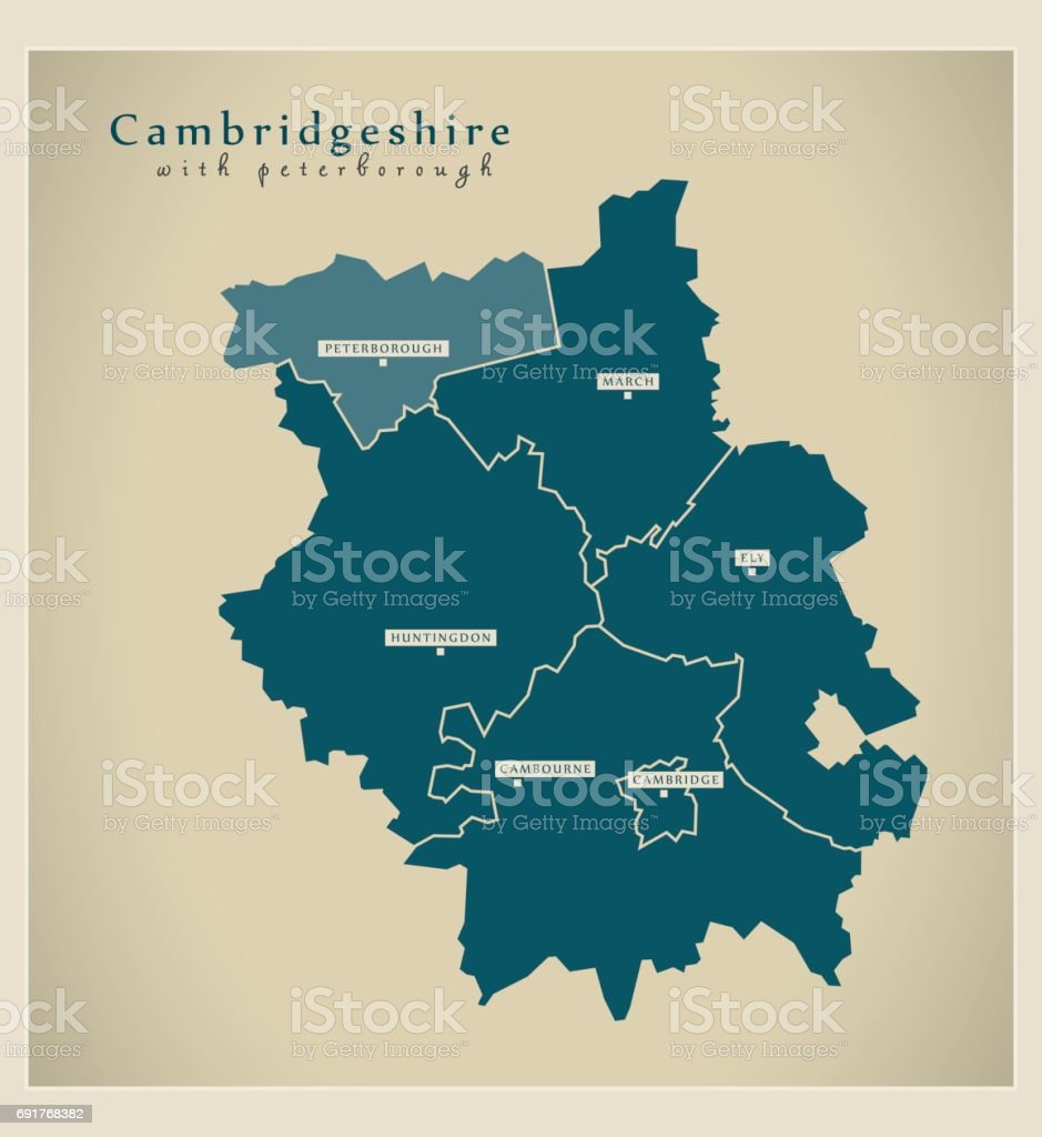 Modern Map - Cambridgeshire county with Peterborough and districts UK vector art illustration