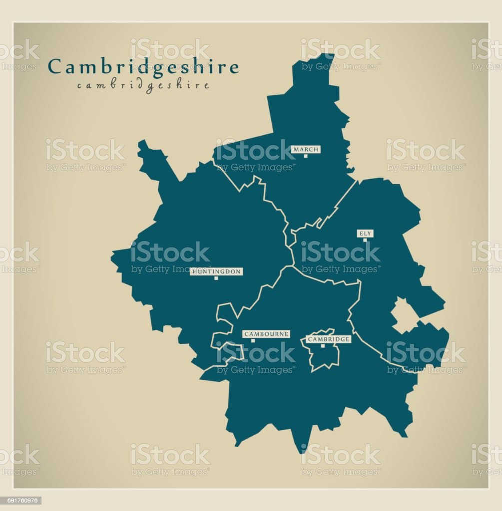 Modern Map - Cambridgeshire with districts UK vector art illustration