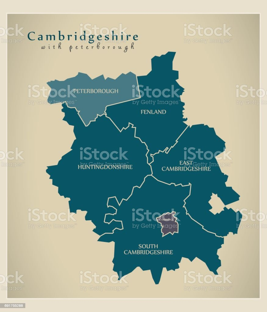 Modern Map - Cambridgeshire with Peterborough districts detailed UK vector art illustration
