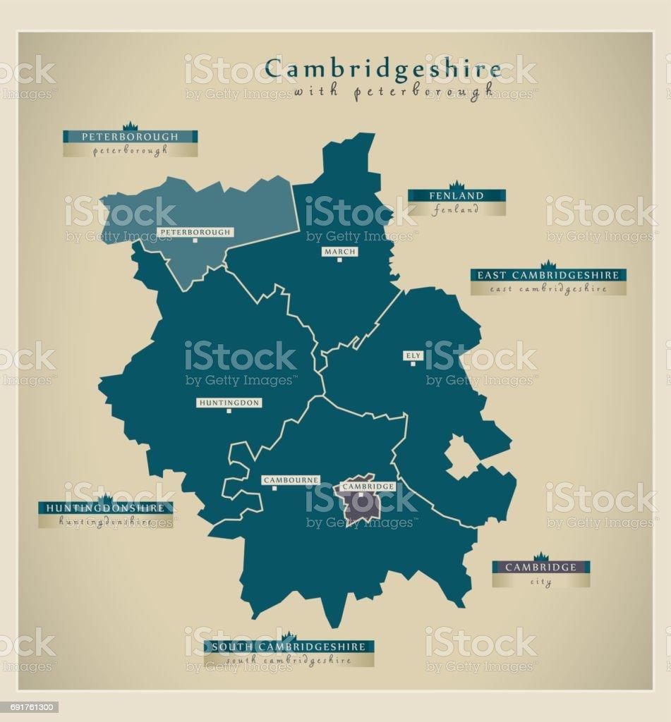 Modern Map - Cambridgeshire with Peterborough labels UK vector art illustration
