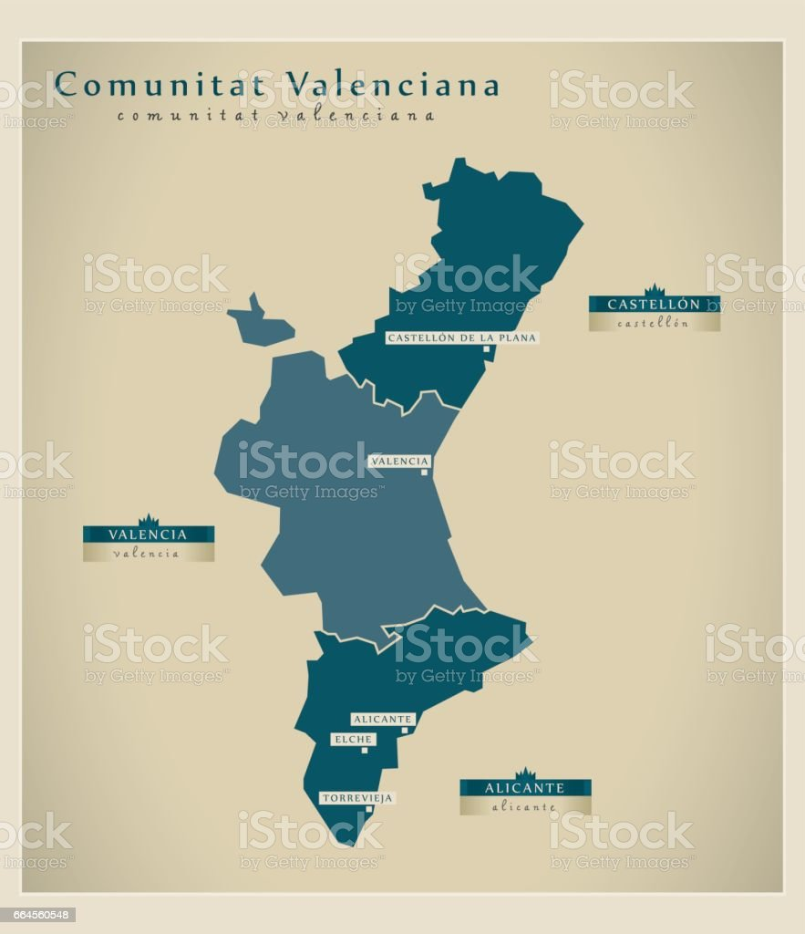 Modern Map - Comunitat Valenciana ES vector art illustration