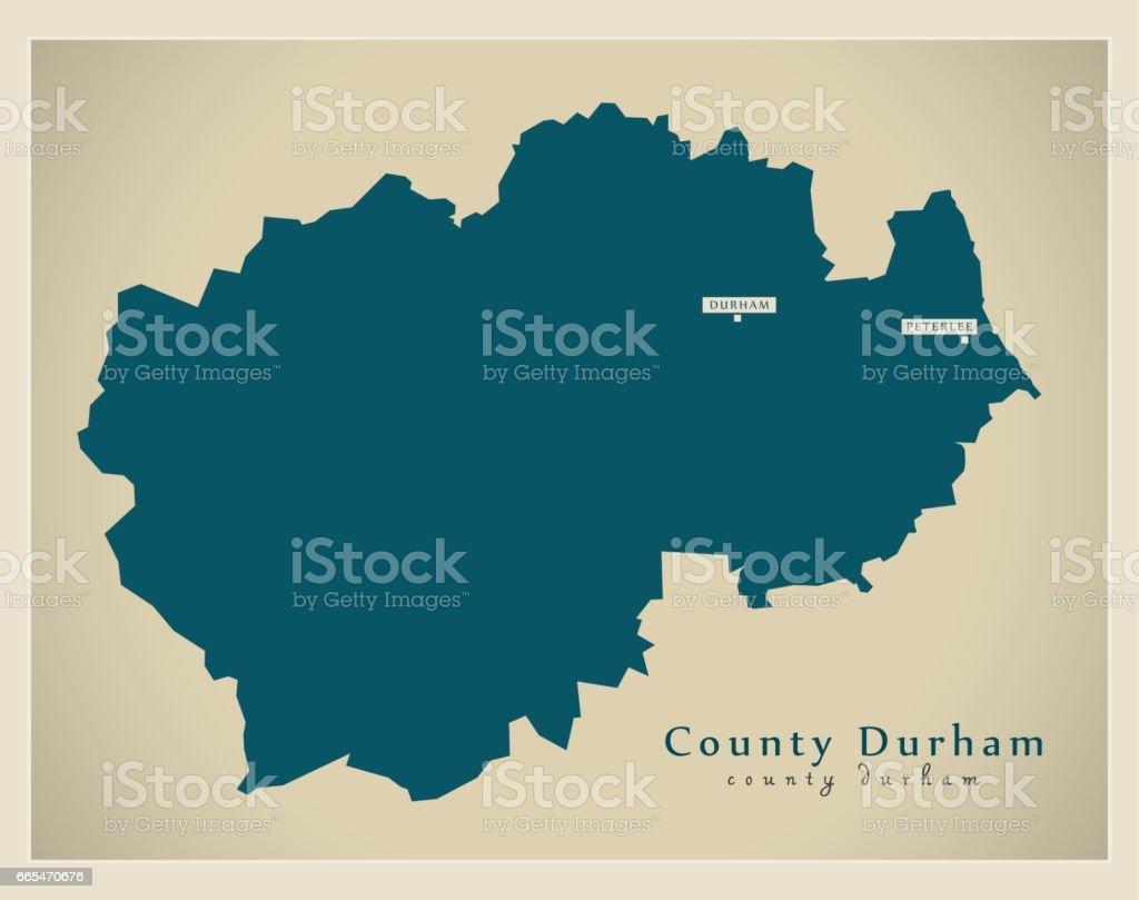 Modern Map - County Durham unitary authority England UK vector art illustration