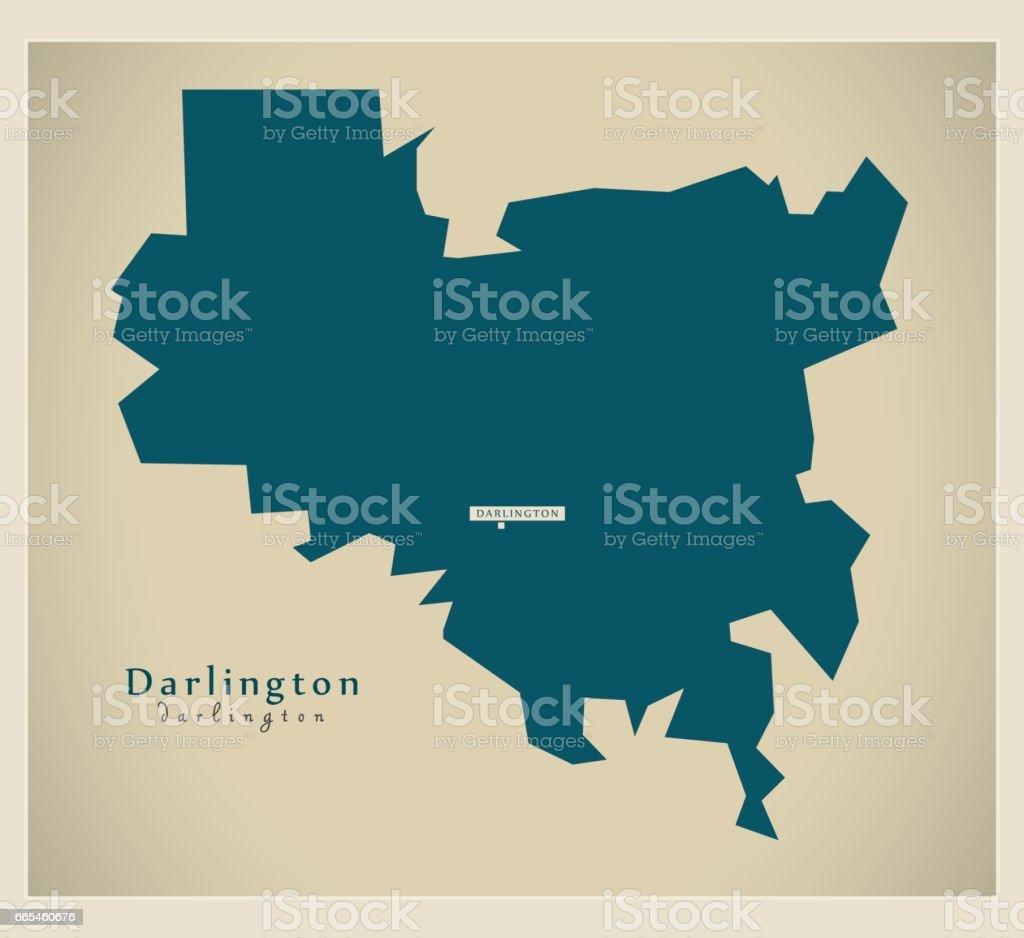 Modern Map - Darlington unitary authority England UK vector art illustration