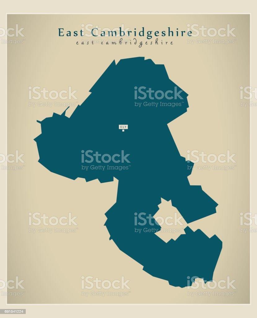 Modern Map - East Cambridgeshire district UK vector art illustration