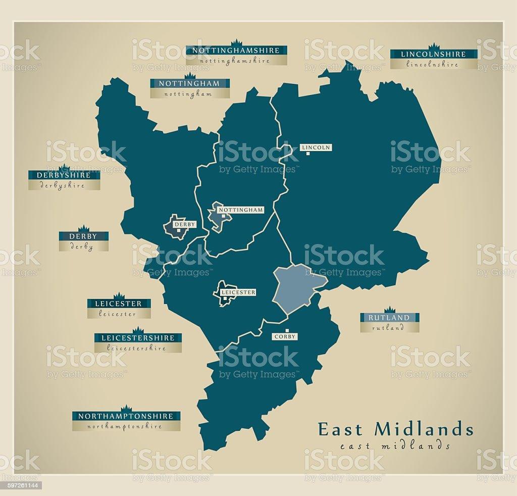 Modern Map - East Midlands UK vector art illustration