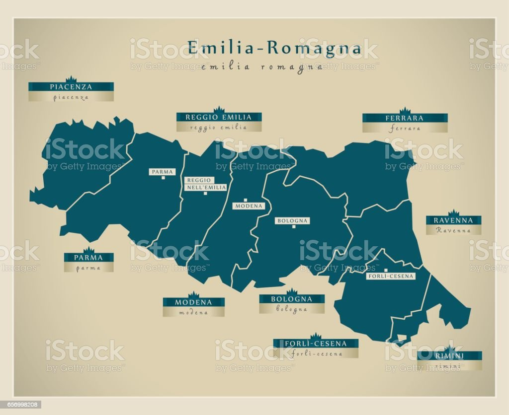 Modern Map - Emilia-Romagna IT vector art illustration