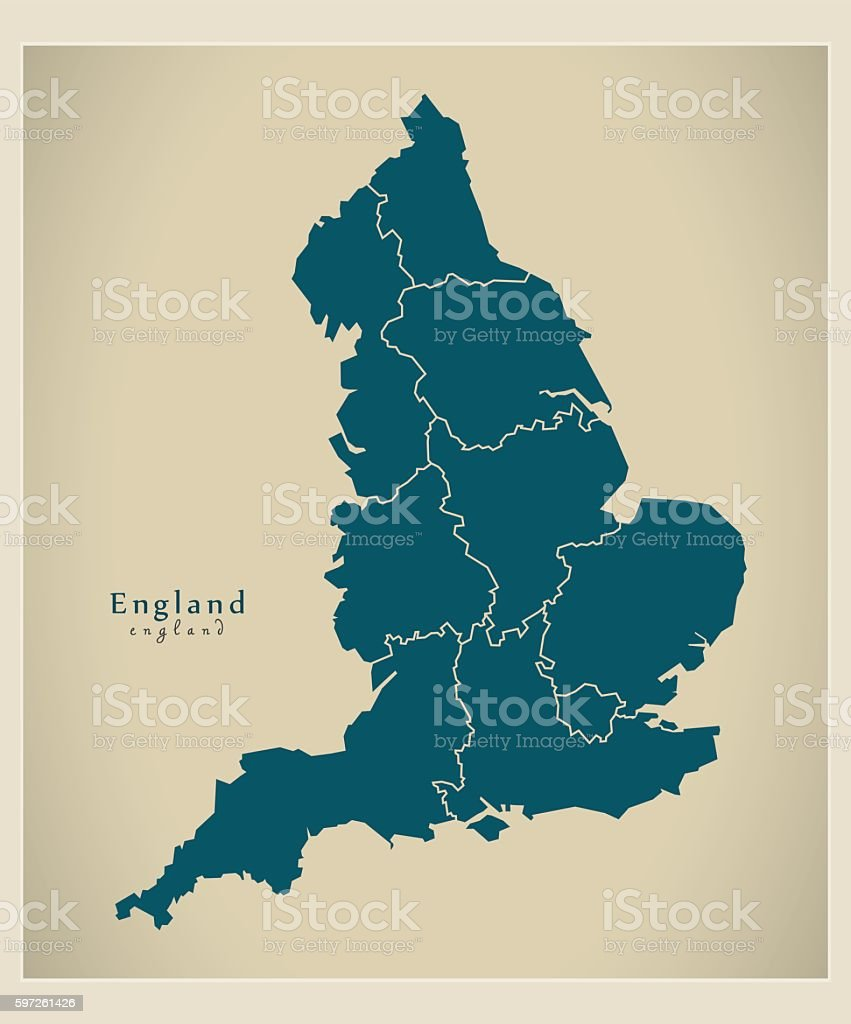 Modern Map - England with counties UK vector art illustration