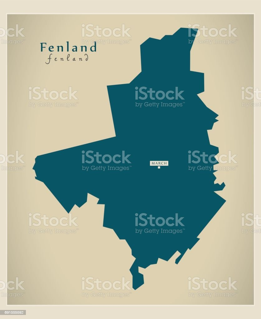 Modern Map - Fenland district UK vector art illustration
