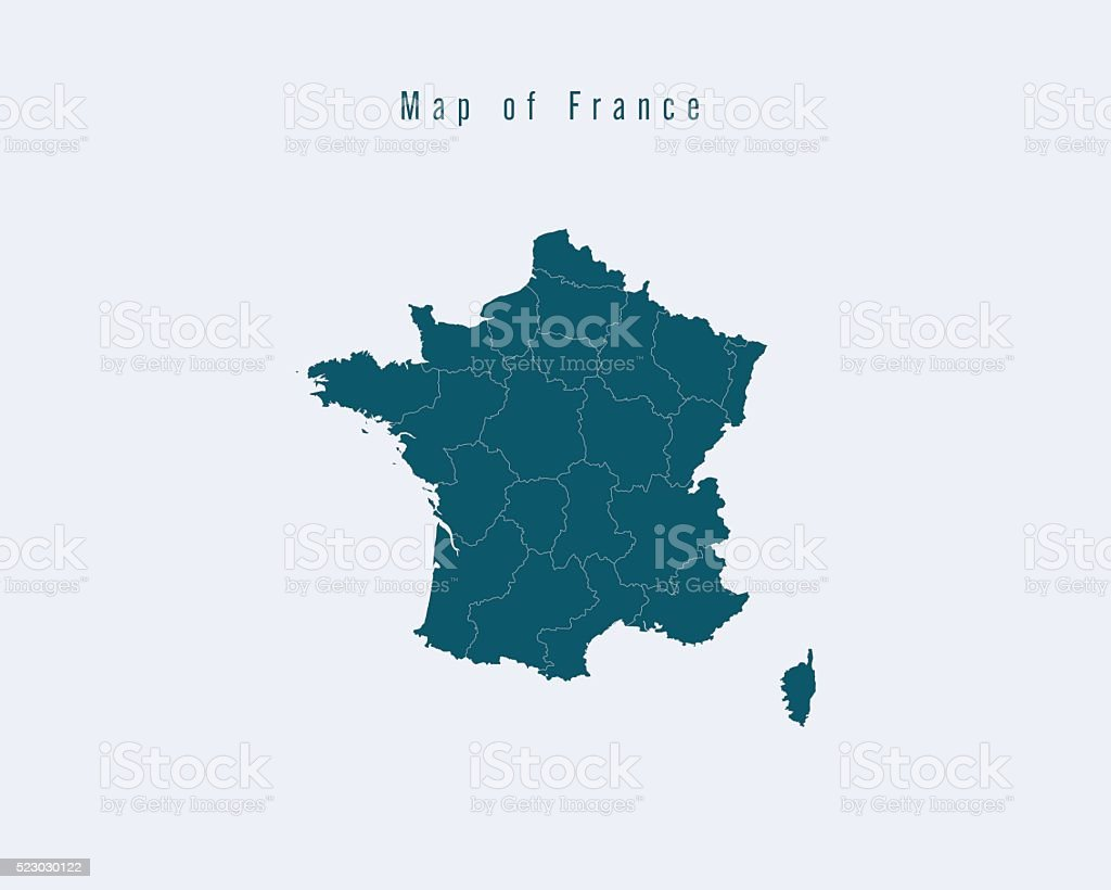 Modern Map -France  with federal states vector art illustration
