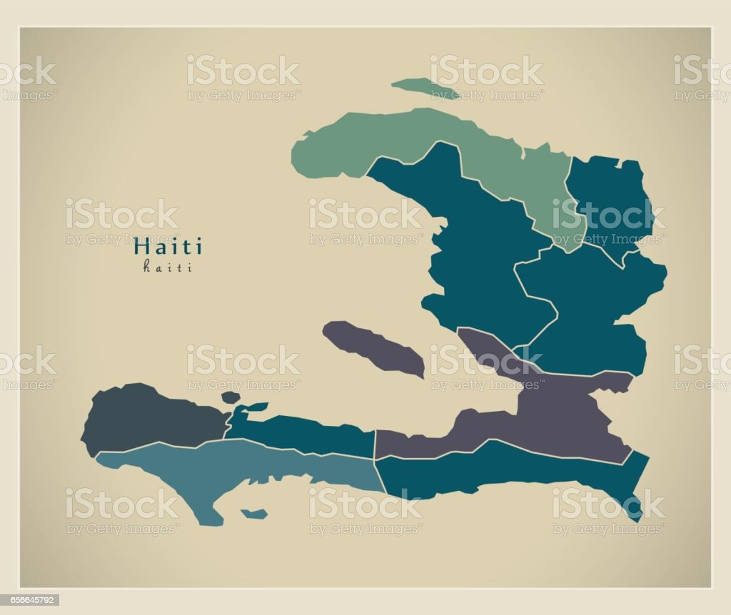 Modern Map - Haiti with departments HT vector art illustration