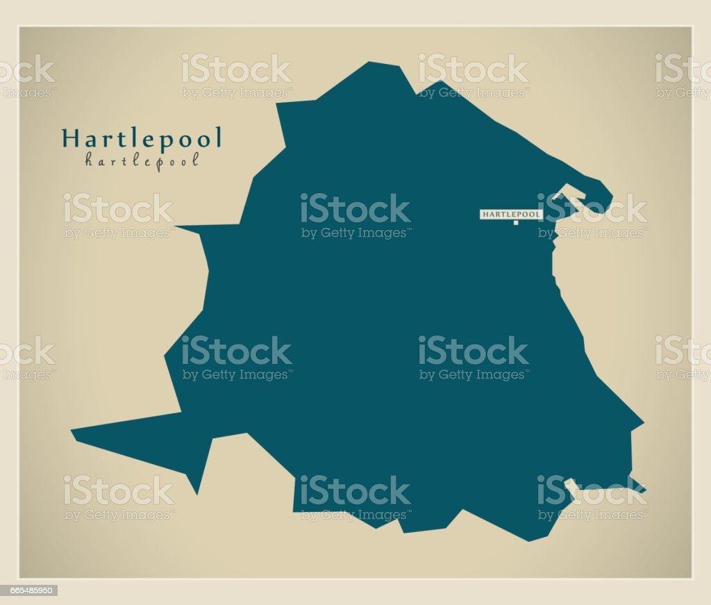 Modern Map - Hartlepool unitary authority England UK vector art illustration