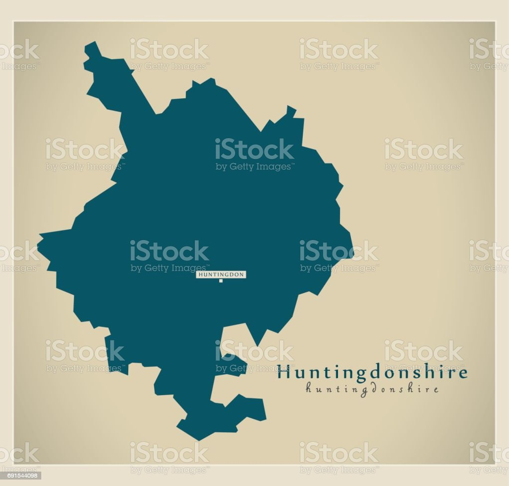 Modern Map - Huntingdonshire district UK vector art illustration