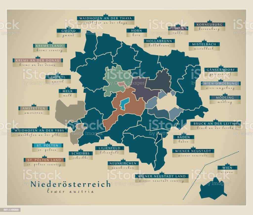 Modern Map - Lower Austria AT vector art illustration