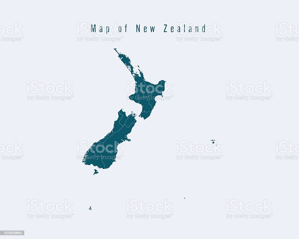 Modern Map - New Zealand with federal states vector art illustration