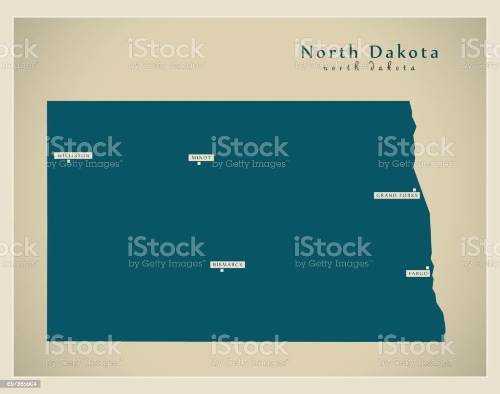 Modern Map - North Dakota USA vector art illustration