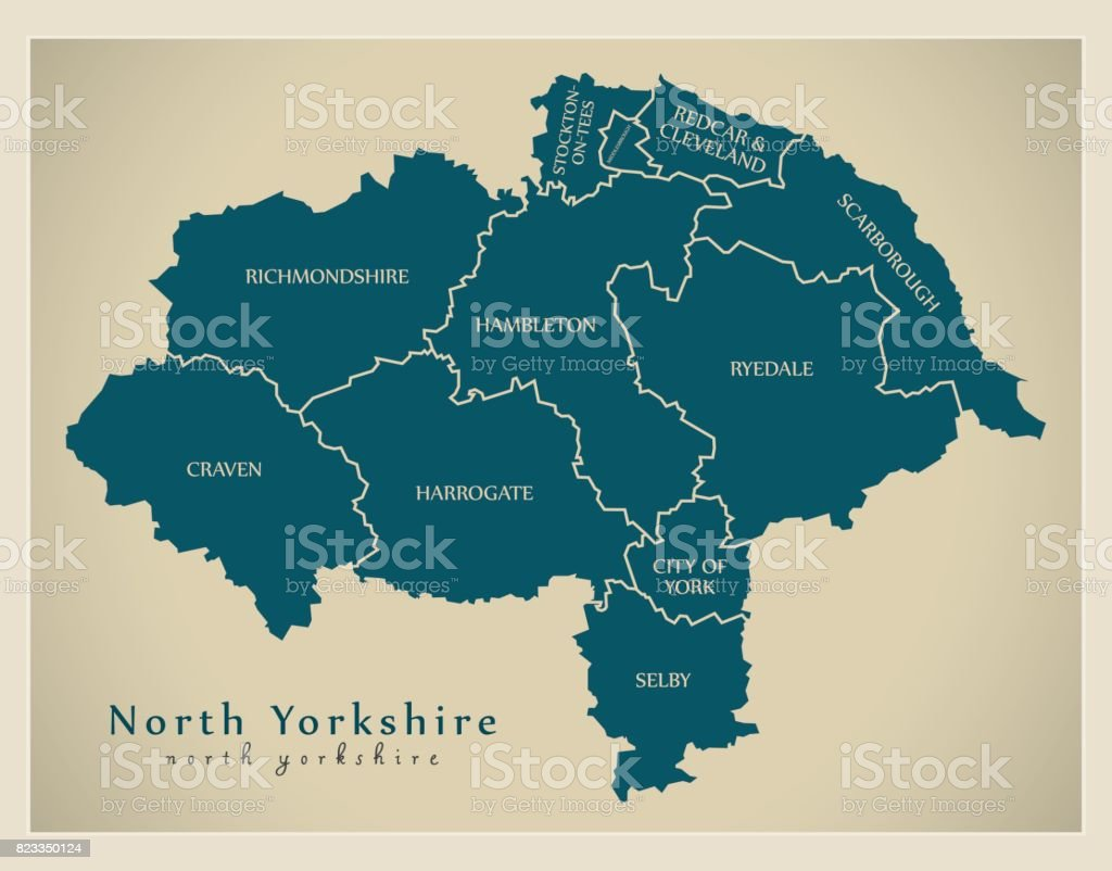 Modern Map - North Yorkshire county with district captions England UK illustration vector art illustration